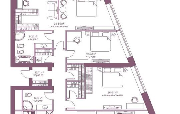 1-комнатная квартира, 174.3 м<sup>2</sup>, 21 этаж