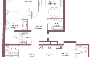 1-комнатная квартира, 181.2 м<sup>2</sup>, 19 этаж