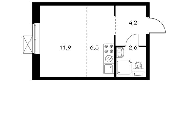 1-комнатная квартира, 25.2 м<sup>2</sup>, 12 этаж
