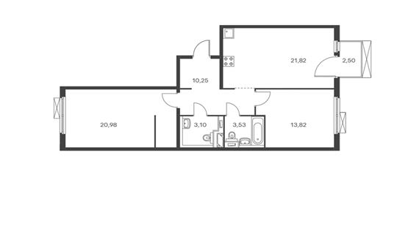 2-комнатная квартира, 74.25 м<sup>2</sup>, 11 этаж