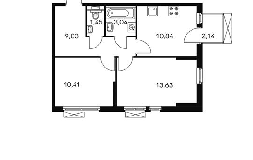 2-комнатная квартира, 49.16 м<sup>2</sup>, 9 этаж