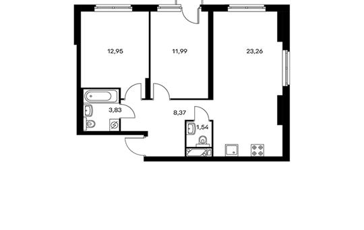 2-комнатная квартира, 62.27 м<sup>2</sup>, 5 этаж