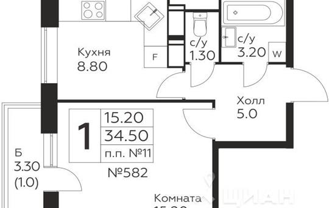 1-комн квартира, 34.5 м<sup>2</sup>, 22 этаж_1
