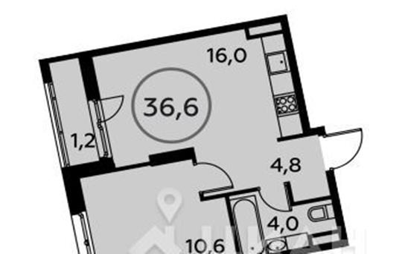 1-комнатная квартира, 36.6 м<sup>2</sup>, 14 этаж_1