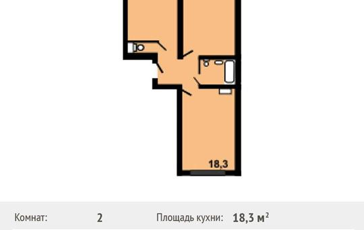 2-комнатная квартира, 60.4 м<sup>2</sup>, 4 этаж
