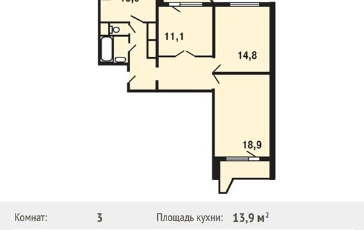 3-комнатная квартира, 80.4 м<sup>2</sup>, 6 этаж