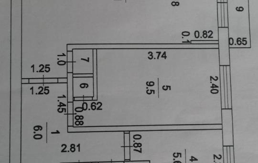 2-комнатная квартира, 45 м<sup>2</sup>, 5 этаж