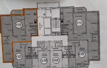 3-комнатная квартира, 79 м<sup>2</sup>, 6 этаж