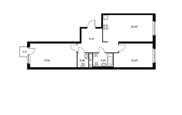 2-комнатная квартира, 69.42 м<sup>2</sup>, 3 этаж