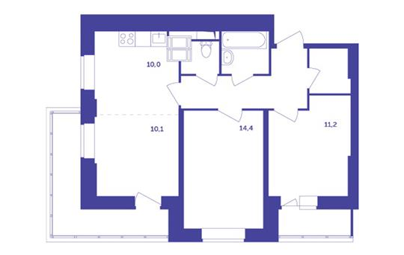 3-комн квартира, 66.3 м<sup>2</sup>, 16 этаж_1