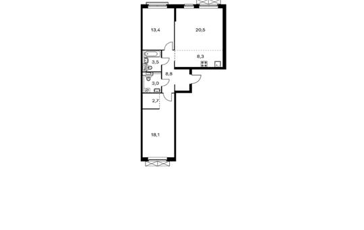 3-комнатная квартира, 78.3 м<sup>2</sup>, 13 этаж