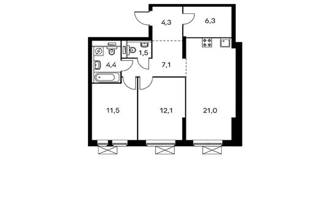 2-комнатная квартира, 68.2 м<sup>2</sup>, 2 этаж