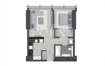 1-комн квартира, 57 м2, 32 этаж