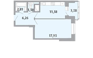 1-комнатная квартира, 41.8 м<sup>2</sup>, 12 этаж_1
