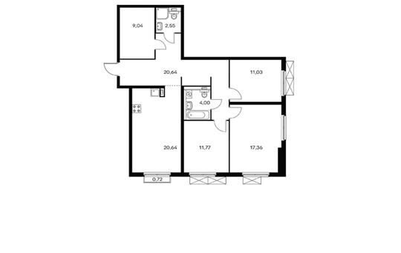 3-комнатная квартира, 97.2 м<sup>2</sup>, 6 этаж