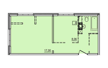 1-комнатная квартира, 38.71 м<sup>2</sup>, 3 этаж