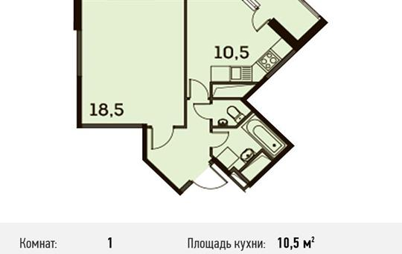 1-комнатная квартира, 40.3 м<sup>2</sup>, 17 этаж