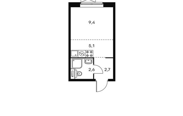 1-комнатная квартира, 19.8 м<sup>2</sup>, 15 этаж
