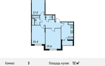 3-комнатная квартира, 82 м<sup>2</sup>, 18 этаж
