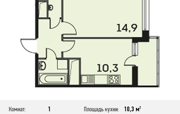 1-комнатная квартира, 35.1 м<sup>2</sup>, 9 этаж