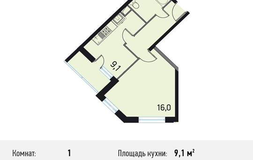 1-комнатная квартира, 36.9 м<sup>2</sup>, 19 этаж