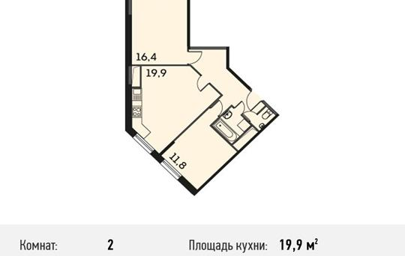 2-комнатная квартира, 63.5 м<sup>2</sup>, 20 этаж