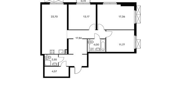 3-комнатная квартира, 95.3 м<sup>2</sup>, 11 этаж