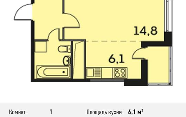 1-комнатная квартира, 30.3 м<sup>2</sup>, 19 этаж