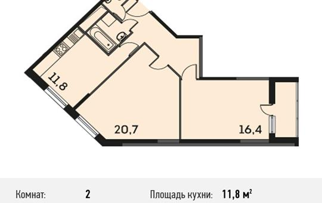 2-комнатная квартира, 64.4 м<sup>2</sup>, 23 этаж