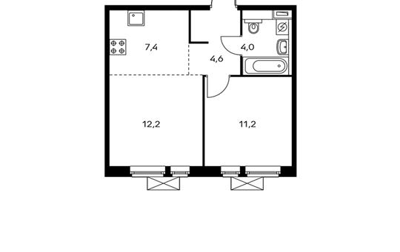 2-комнатная квартира, 39.4 м<sup>2</sup>, 17 этаж_1