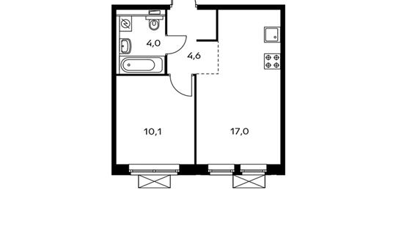 1-комнатная квартира, 35.7 м<sup>2</sup>, 3 этаж