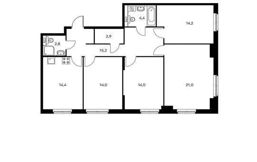 4-комнатная квартира, 102.9 м<sup>2</sup>, 9 этаж