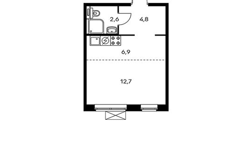 1-комнатная квартира, 27 м<sup>2</sup>, 13 этаж