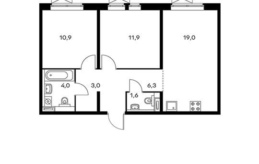 2-комнатная квартира, 56.7 м<sup>2</sup>, 12 этаж