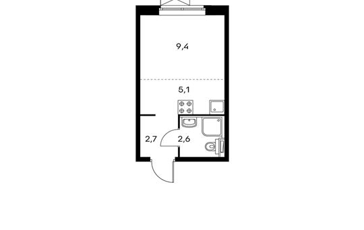 1-комнатная квартира, 19.8 м<sup>2</sup>, 23 этаж