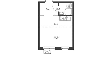 1-комнатная квартира, 25.2 м<sup>2</sup>, 19 этаж