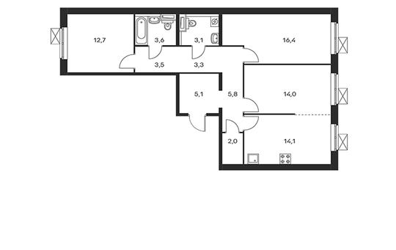 3-комнатная квартира, 83.6 м<sup>2</sup>, 16 этаж