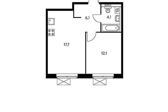 1-комнатная квартира, 40 м<sup>2</sup>, 9 этаж_1
