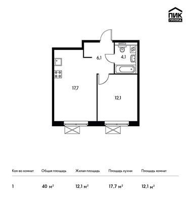 1-комн квартира, 40 м2, 9 этаж - фото 1