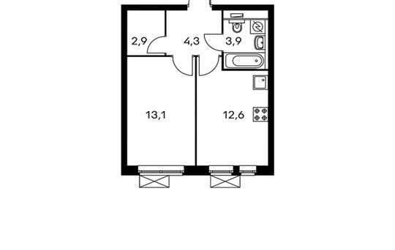 1-комнатная квартира, 37 м<sup>2</sup>, 25 этаж