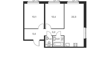2-комнатная квартира, 61 м<sup>2</sup>, 16 этаж