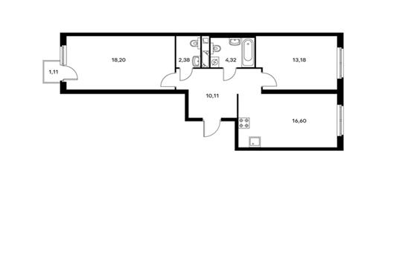 2-комнатная квартира, 65.21 м<sup>2</sup>, 9 этаж