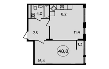 2-комнатная квартира, 48.7 м<sup>2</sup>, 16 этаж