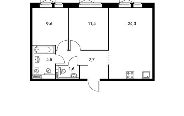 2-комнатная квартира, 56.2 м<sup>2</sup>, 24 этаж
