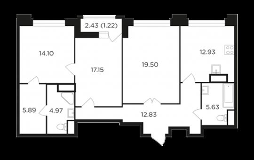 1-комн квартира, 94.21 м2, 20 этаж