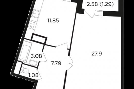 1-комн квартира, 53.68 м2, 17 этаж