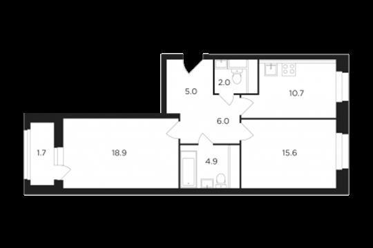 2-комн квартира, 64.69 м2, 15 этаж