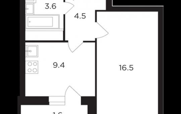 1-комнатная квартира, 35.54 м<sup>2</sup>, 17 этаж