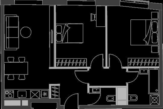 2-комн квартира, 61 м2, 16 этаж