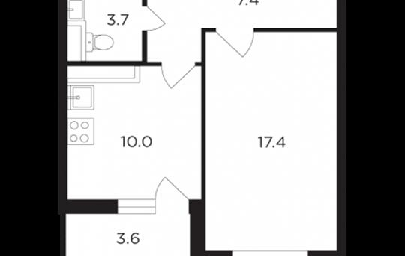 1-комнатная квартира, 40.31 м<sup>2</sup>, 13 этаж